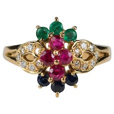 Ruby Emerald Sapphire Diamond Ring 18k Gold Mixed Gemstone Ring