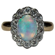Old European Cut Diamond Natural Opal Ring Platinum 14k Gold Old Euro Cut Halo