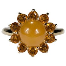 Orange Jade Bead Citrine Flower Ring 14k Gold Ring