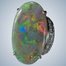 Australian Natural Opal Diamond Ring 22ctw 18k Gold Black Opal Ring