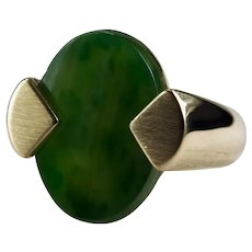 Natural Green Jade Ring 14k Gold