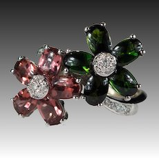 Natural Tourmaline Diamond Ring 8.44ctw 18k Gold Double Flower Mixed Pink Green Tourmaline Ring