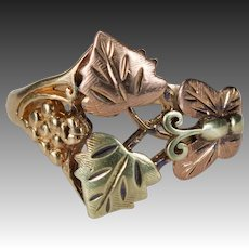 Grape Vine Butterfly Ring 10k Black Hills Gold