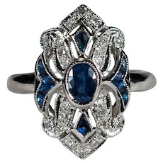 French Cut Sapphire Diamond Ring 14k Gold Scallop Navette Ring