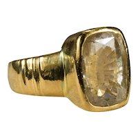 Natural Yellow Sapphire Ring 22k Gold 5.30ctw Bezel Set Cushion Cut Sapphire Solitaire