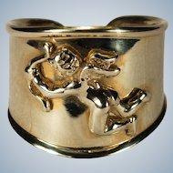 Vintage Cupid Ring 14k Gold Designer Vior Cherub Wide Cigar Band Adjustable Ring