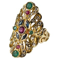 Ruby Sapphire Emerald Diamond Ring 18k Gold Mixed Gemstone Navette Ring