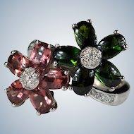 Natural Tourmaline Diamond Ring 8.44ctw 18k Gold Double Flower Mixed Pink Green Tourmaline Ring