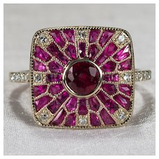 French Cut Ruby Diamond Ring 18k Gold Genuine Ruby Diamond Ring