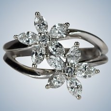 Natural Diamond Double Flower Ring 1.62ctw 14k Gold Mixed Diamond Ring