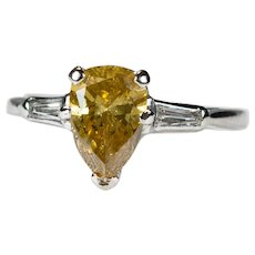 Fancy Yellow Cognac Diamond 1.50ctw 14k Gold Natural Pear Cut Solitaire Diamond Ring