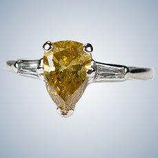 Fancy Yellow Cognac Diamond 1.50ctw 14k Gold Natural Pear Cut Solitaire Diamond Ring