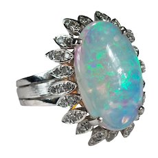 Natural Opal Diamond Ring 18k Gold 7.75ctw Art Deco Opal Ring