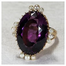 Antique Russian Siberian Amethyst Pearl Ring 21ctw 14k Gold Royal Purple