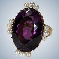 Antique Russian Siberian Amethyst Pearl Ring 21ctw 14k Gold Royal Purple