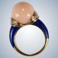Natural Angel Skin Coral Diamond Lapis Ring 18k 750 Coral Bead Ring