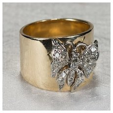 Diamond Butterfly Ring 14k Gold Wide Cigar Band Diamond Ring