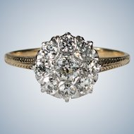 Antique Old European Cut Diamond Platinum 1.10ctw 14k Gold Old Euro Mine Cut Circle Cluster Ring