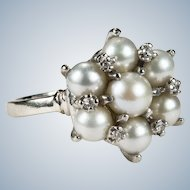Vintage Pearl Diamond Ring 14k Gold Cultured Pearl Cluster