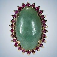 Genuine Jade Ruby Ring 18k Gold