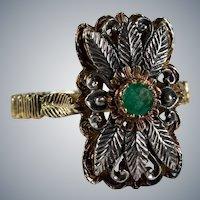 Antique Genuine Emerald Carved Leaf 18k Gold Sterling Ring
