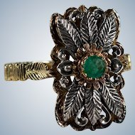 Antique Genuine Emerald Carved Leaf 18k Gold Sterling Ring