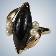 Natural Black Coral Pearl Navette 14k Gold Marquise Ring