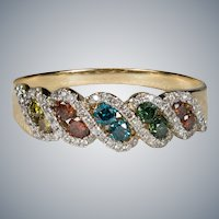 Multi Color Diamond Band 1.50ctw 14k Gold Diamond Engagement Wedding Ring