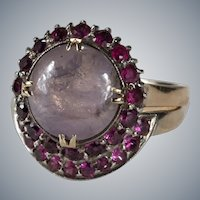 Star Sapphire Ruby Ring Set 5.50ctw 14k Gold Engagement Wedding Band