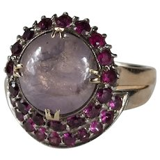 Natural Star Sapphire Ruby Ring Set 5.50ctw 14k Gold Engagement Ring Wedding Band