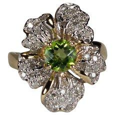 Natural Peridot Diamond Flower 14k Gold Ring
