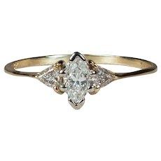 Natural Diamond Engagement Ring 14k Gold Magic Glo Three Stone Diamond Ring