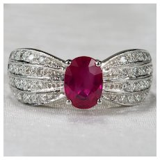 Vintage Ruby Diamond Ring 18k Gold 1.50ctw