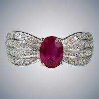 Vintage Ruby Diamond Ring 18k Gold 1.50ctw