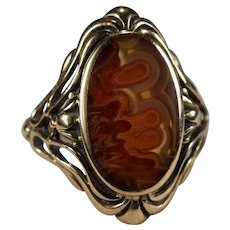 Antique Art Nouveau Natural Agate Stone 14k Filigree Ring