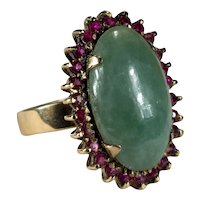 Genuine Jade Ruby Ring 18k Gold Green Jade Ruby Halo