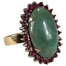 Genuine Jade Ruby Ring 18k Gold