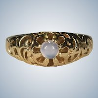 Natural Moonstone Ring 14k Gold Open Filigree Buttercup Band
