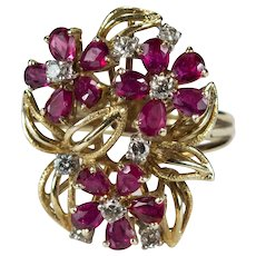 Art Deco Ruby Diamond Ring 14k Gold 4.68ctw Cocktail Flower Bouquet