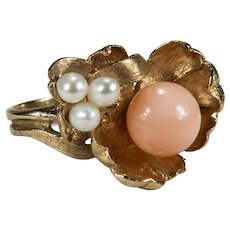 Natural Angel Skin Coral Pearl Water Lily Pad Ring 14k Gold Hand Crafted Art Nouveau