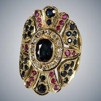 Sapphire Ruby Diamond Ring 18k Gold Mixed Gemstone Large Band Shield Wrap