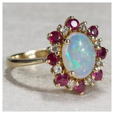 Natural Opal Ruby Diamond Halo 14k Gold Ring