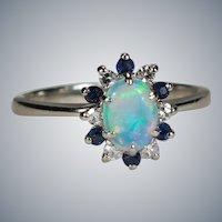 Natural Opal Sapphire Diamond Halo Ring 14k White Gold