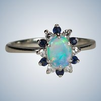 Natural Opal Sapphire Diamond Halo Ring 14k White Gold