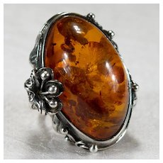 Natural Baltic Amber Sterling Trumpet Flower Ring Designer Signed