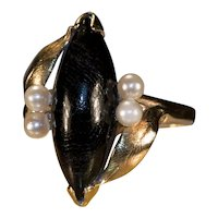Natural Black Coral Pearl Navette Ring 14k Gold Marquise Cut Cabochon Coral