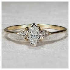 Natural Diamond Engagement Ring 14k Marquise Trillion Cut Three Stone Diamond Ring