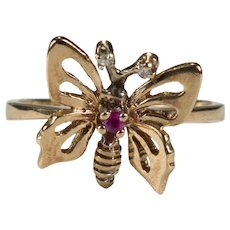 Ruby Diamond Butterfly 10k Ring