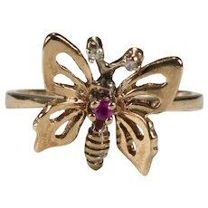 Ruby Diamond Butterfly 10k Ring