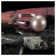 Genuine Blush Pearl Rhodolite Garnet Ring 14k Gold Cultured Pearl Ring
